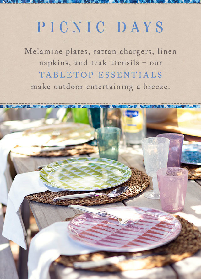Picnic Days | Melamine plates, rattan chargers, linen napkins + teak utensils | our tabletop essentials make outdoor entertaining a breeze.
