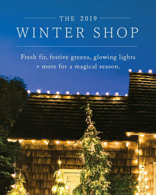 The 2019 Winter Shop | Fresh fir, festive greens, glowing lights + more for a magical season.
