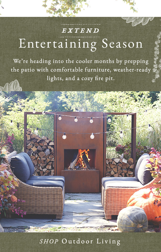 Extend Entertaining Season | We're heading into the cooler months by prepping the pation with comfortable furniture, weather-ready lights, and a cozy fire pit.