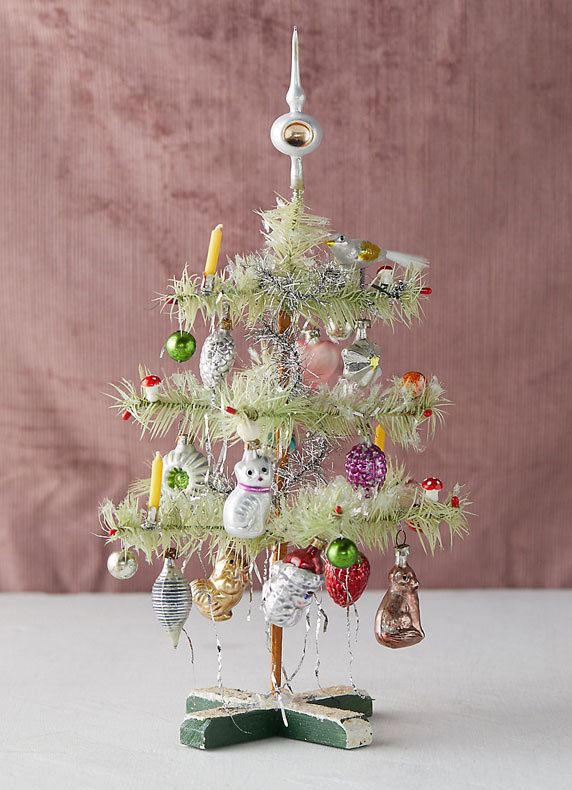 Mini Feather Trees | Decorated with German glass ornaments