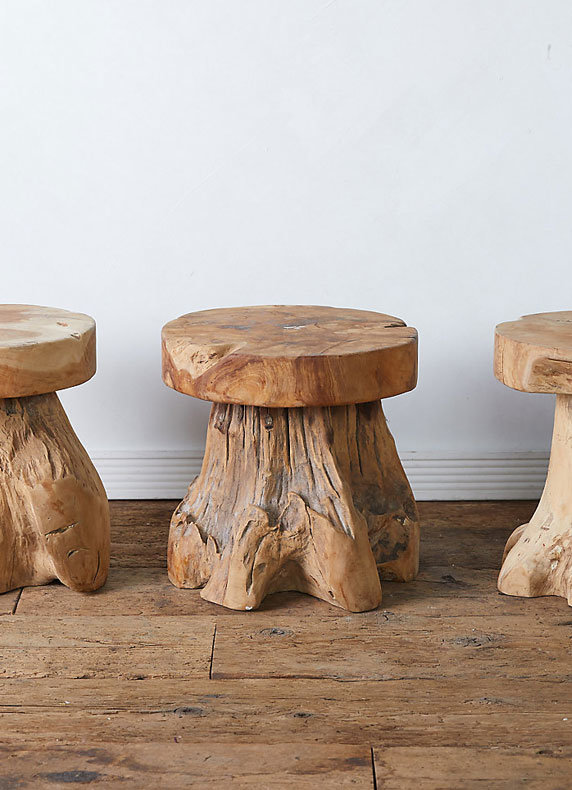 New Teak Root Stools | easy seating for indoors + out