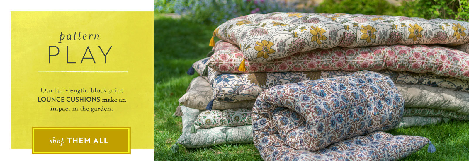 Pattern Play | An effortless mix of our block print lounge cushions + Sunbrella pillows makes a big impact in the garden.